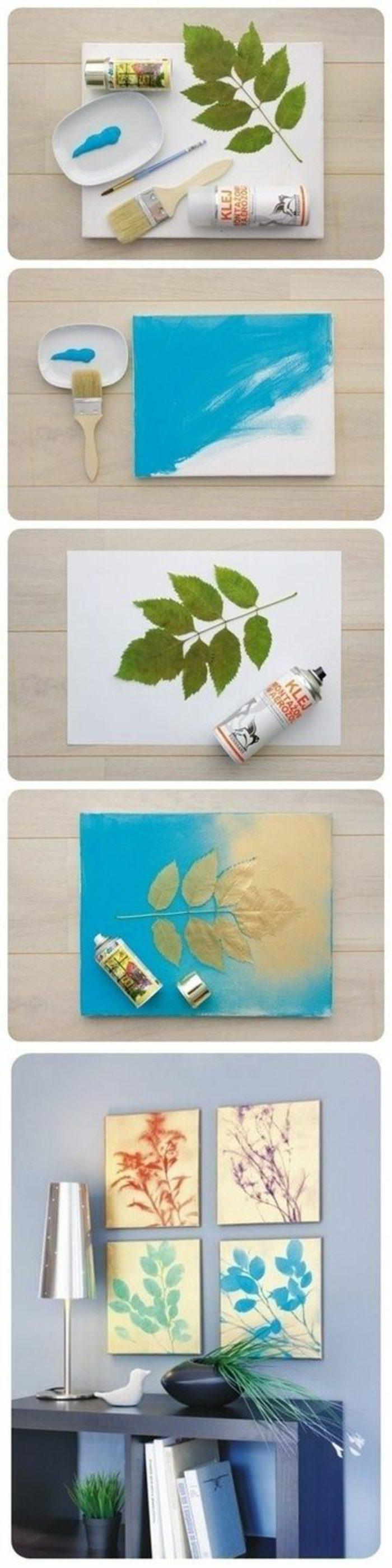 02-ideas-para-regalar-cuadros-hechos-manualmente-con-pinta-y-hojas-idea-artística