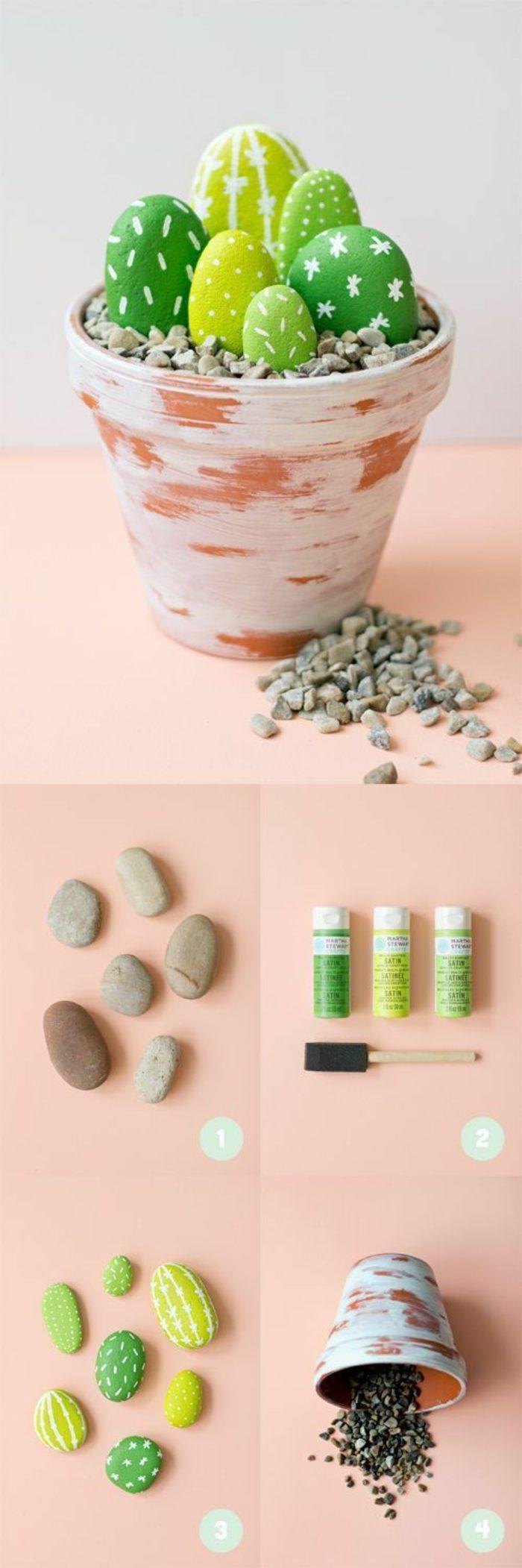 03-manualidades-originales-olla-pintada-en-blanco-y-decorada-con-piedras-pintadas-como-cactus