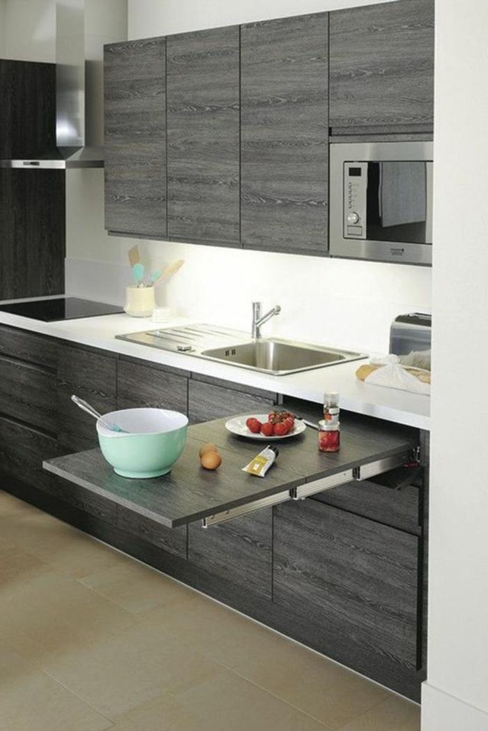 1001 ideas de decorar vuestra cocina blanca y gris - Mesa de cocina pequena ...