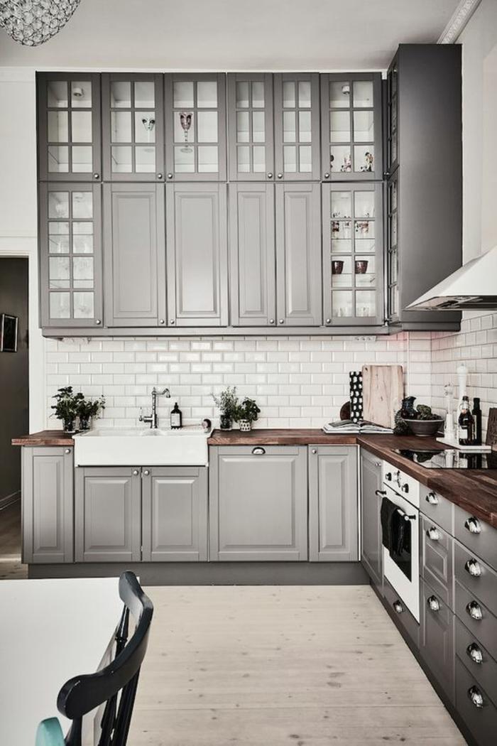1001 ideas de decorar vuestra cocina blanca y gris for Muebles de cocina gris