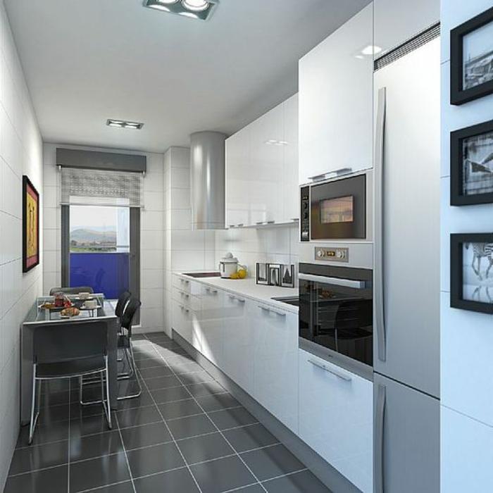 cocinas-blancas-pequeña-mesa-de-comer-pequeña-azulegos-grises-tonos-frios