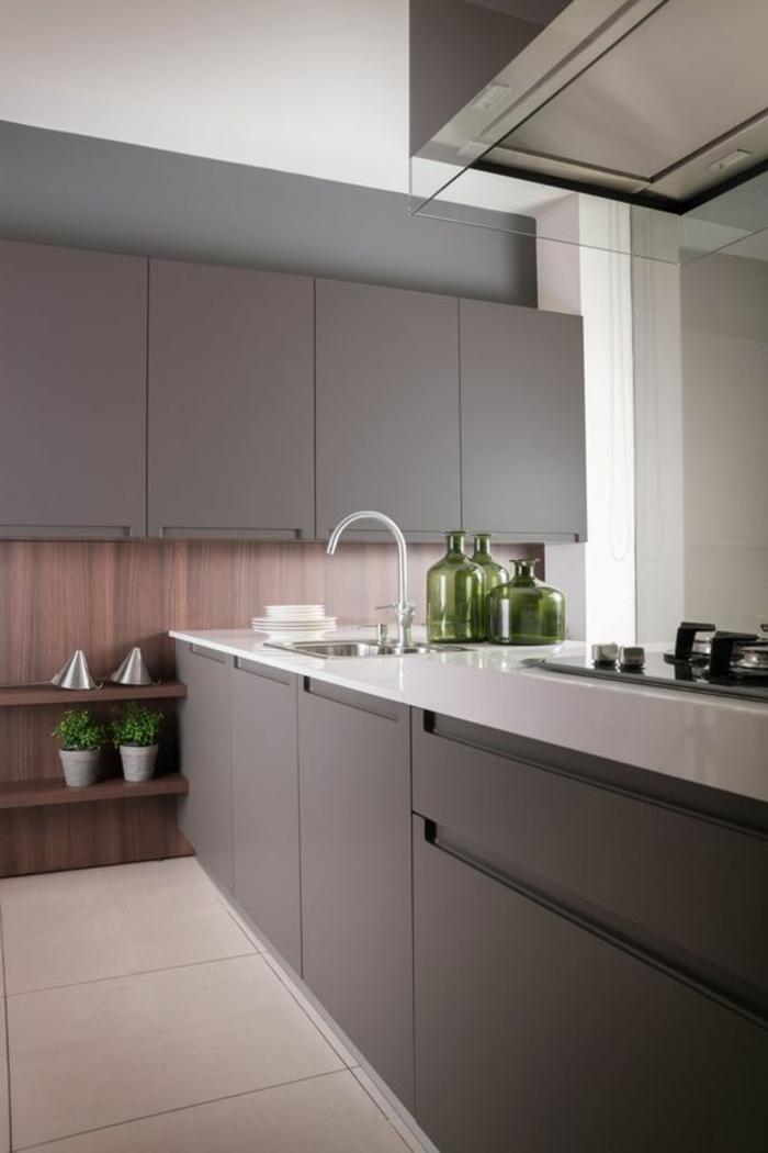 cocinas-rojas-balsa-blanca-cocina-gris-pequeña-diseño-moderno-fregadero-jarrones-verdes
