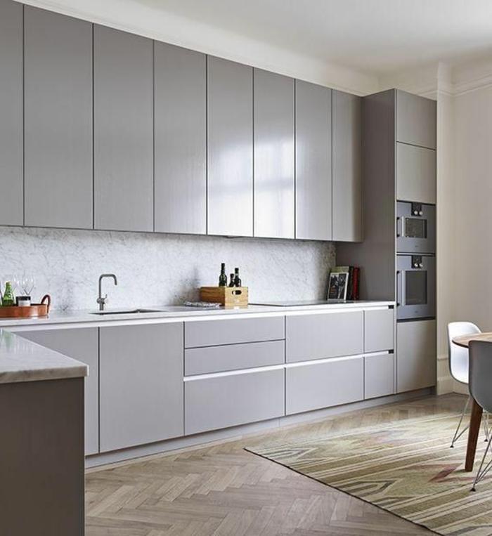 1001 ideas de decorar vuestra cocina blanca y gris - Suelo madera cocina ...