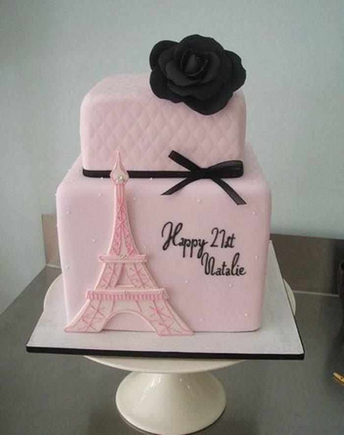 decoración-de-tartas-en-forma-de-cubo-elementos-de-paris-aifel-tower-rosa-negra