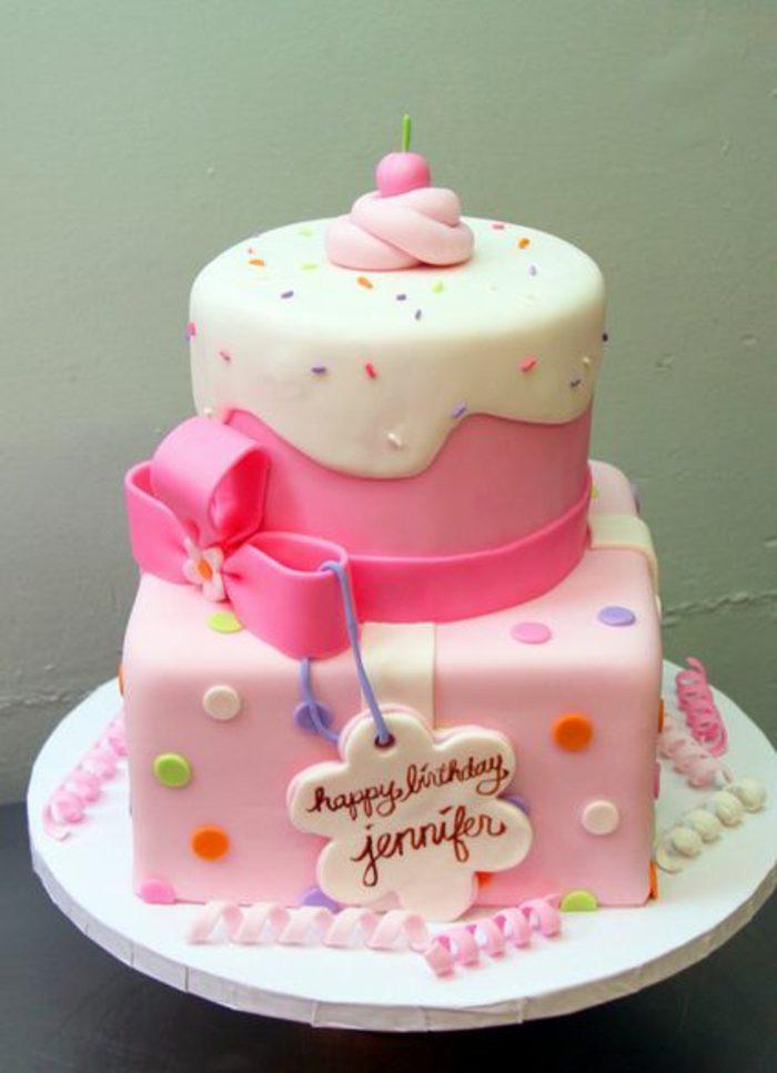 decoración-de-tartas-para-niña-cinta-rosa-decoración-interesante-cumpleaños