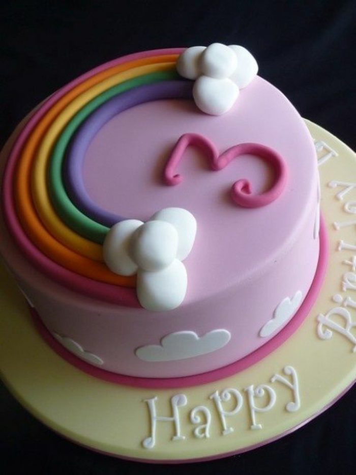 decoración-de-tartas-para-niños-arco-iris-colores-pasteles-decoración-simple