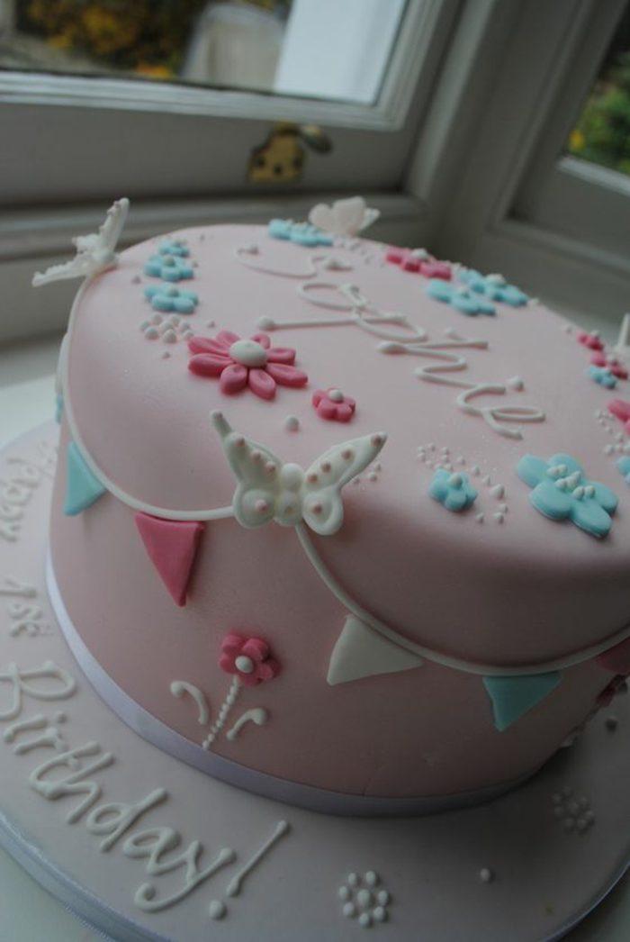 decoración-de-tartas-rosa-decoración-para-niña-mariposas-flores
