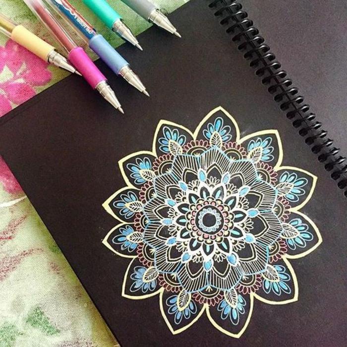 dibujar-mandalas-de color-flores-diseño-personal-azul-amarillo