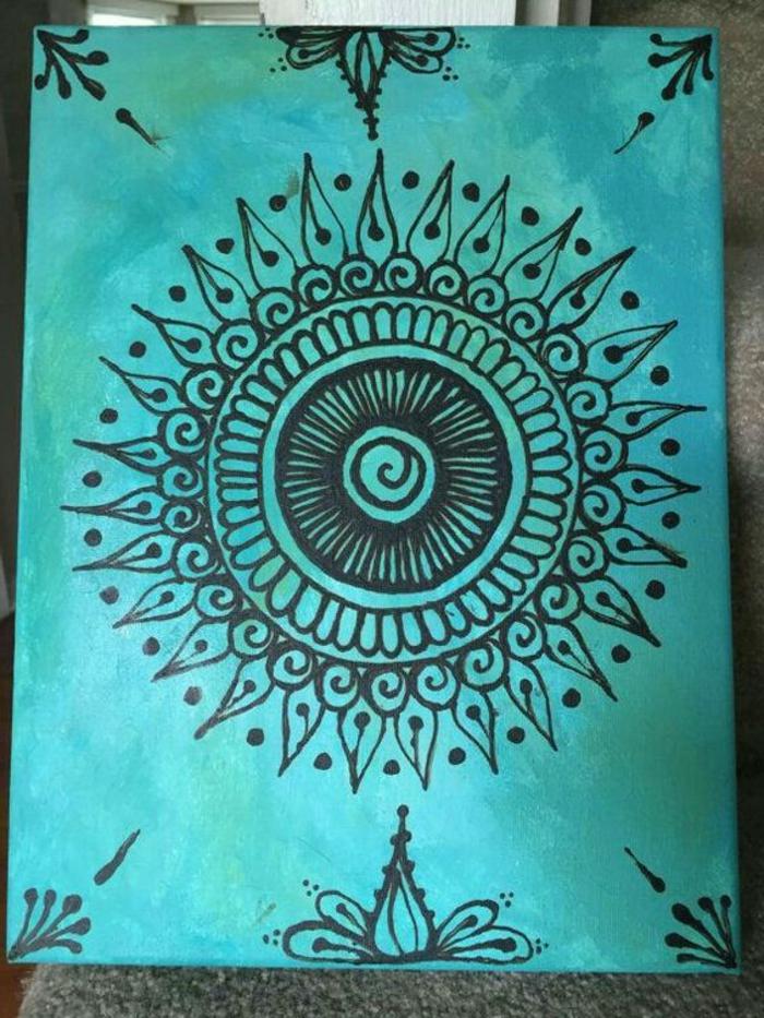 dibujos-de-mandalas-fondo-azul-cuadro-de-pared-mandala-en-negro-simple-de-hacer