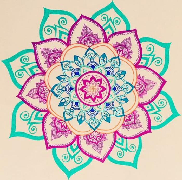 dibujos-de-mandalas-simple-colores-llamativos-diseño-interesante-rosa-azul