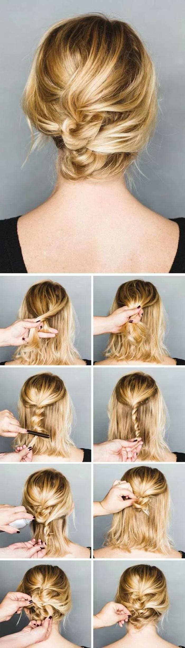 peinados-nochevieja-pelo-corto-rubio-recogido-fácil-de-hacer-paso-a-paso