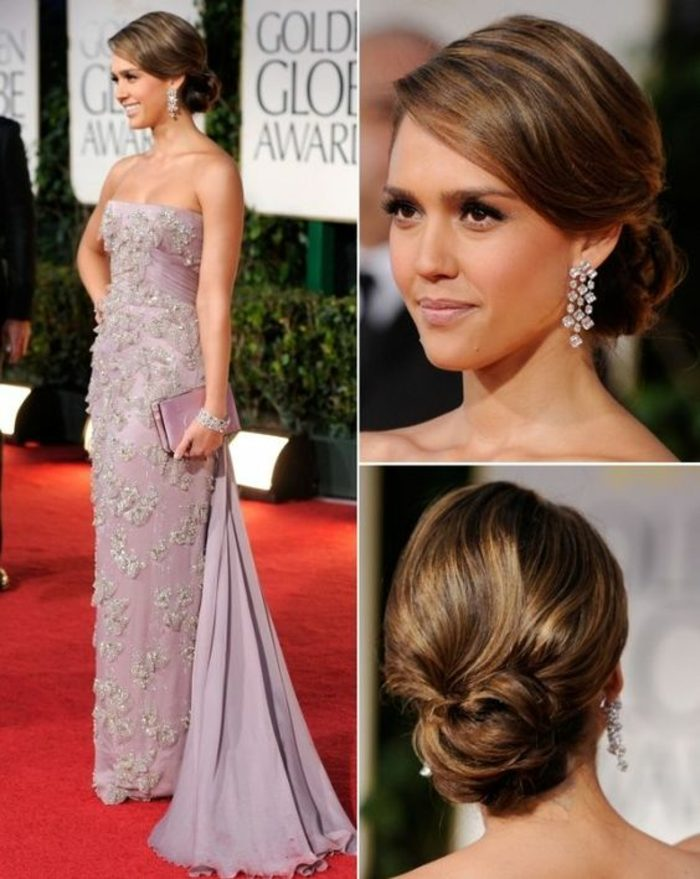 peinados-nochevieja-pelo-recogido-simple-elegante-pendientes-atractivos-vestido-violeta