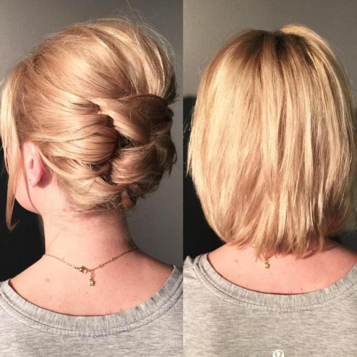 peinados-sencillos-pelo-corto-rubio-recogido-muy-elegante-mechones-sueltos