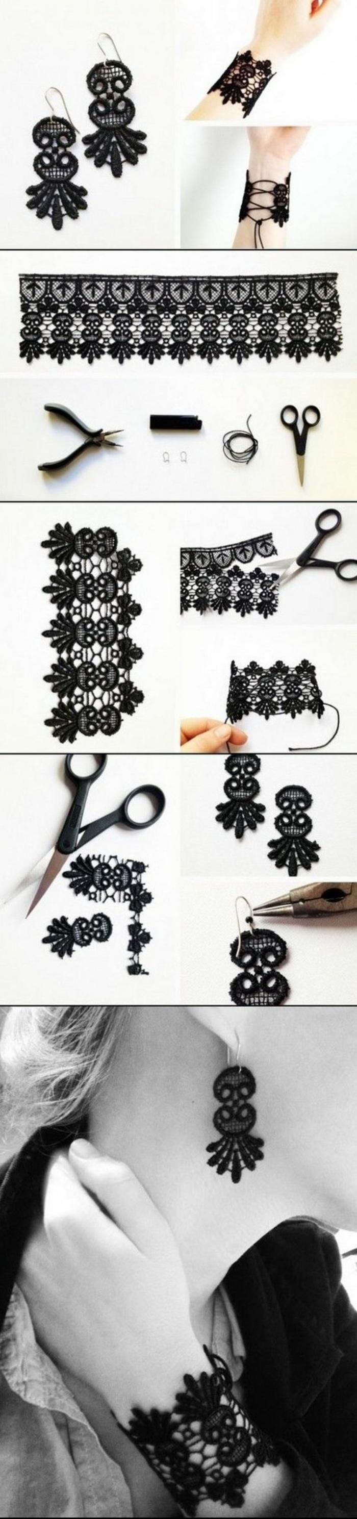 regalos-hechos-a-mano-pendientes-y-pulsera-de-encaje-negro-elegante-simple