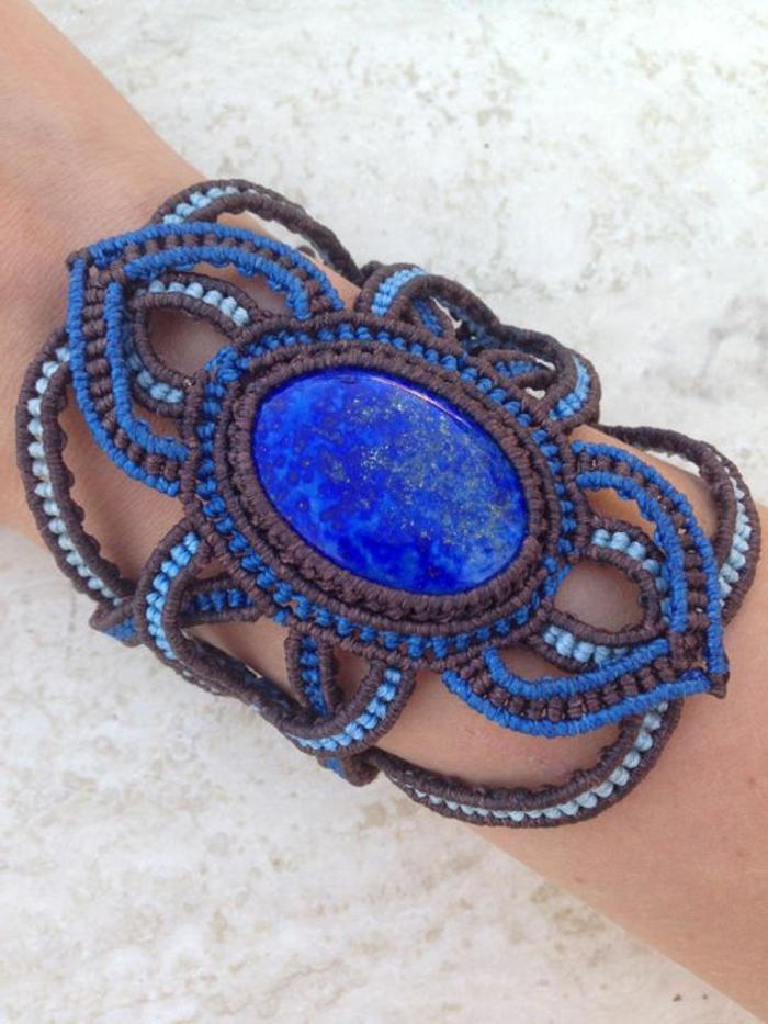 como-hacer-pulseras-de-hilo-pulsera-grande-con-piedra-preciosa-tonos-azules-diseño-original