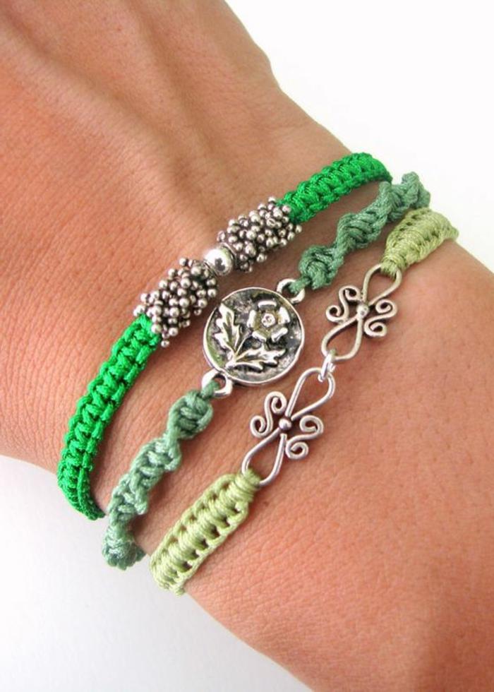 como-hacer-pulseras-de-hilo-tonos-verdes-elementos-interesantes-decoración-fácil-de-elaborar