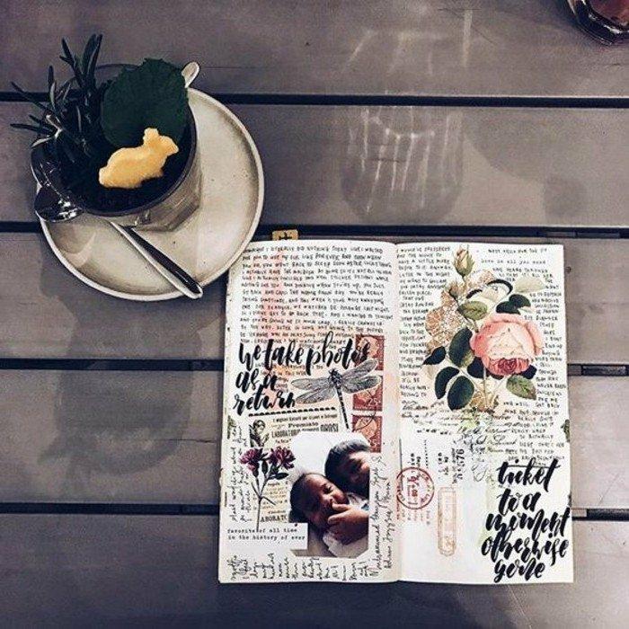cuaderno-de-viajes-diario-con-fotos-dibujo-de-rosas-té-interesanre-pegatines