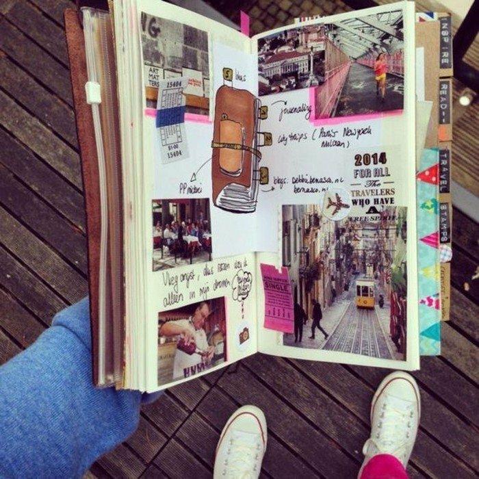 cuaderno-de-viajes-lleno-de-memorias-fotos-dibujos-diario-de-cuero-pegatines