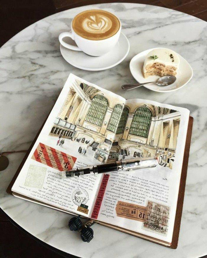 cuadernos-de-viaje-cafe-dibujo-de-un-edificio-diario-de-los-viajes-marcador-pastel