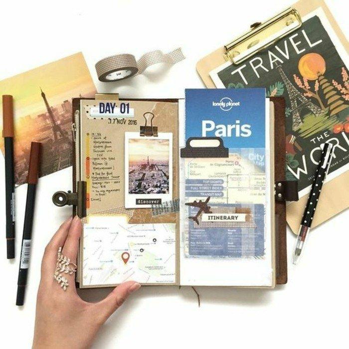 cuadernos-de-viajes-diario-de-los-viajes-a-Paris-fotos-billete-mapas-memorias