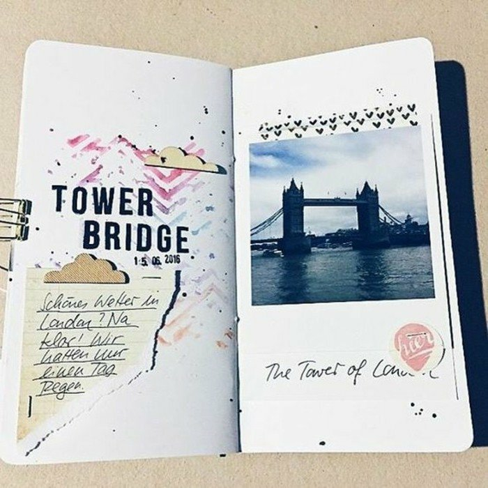 cuadernos-de-viajes-fotos-de-Londres-pegatines-con-corazones-dibujos-diario-interesante