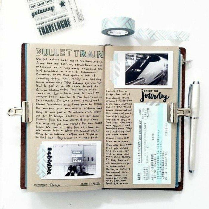 diario-de-viajes-cuaderno-con-memorias-notas-fotos-pegatines-billete-de-viaje