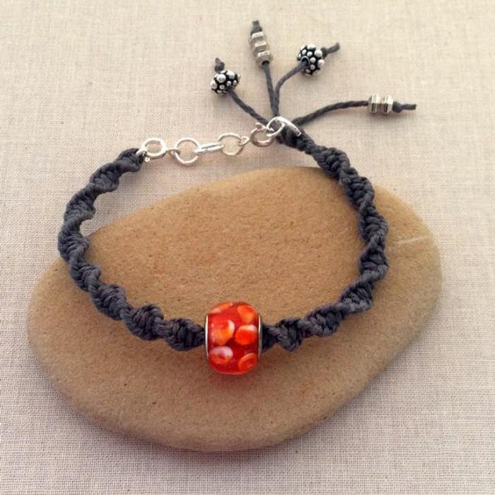 pulseras-de-macrame-hecha-a-mano-color-negro-decoración-pulsera-simple-de-hacer
