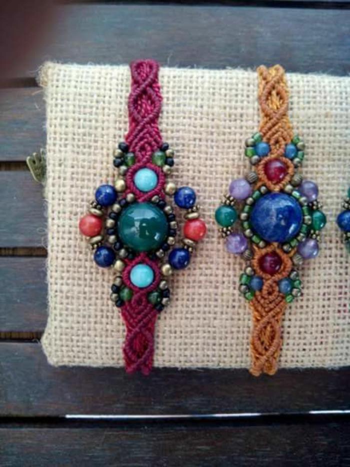 pulseras-de-macrame-modelo-interesante-dos-colores-piedras-preciosas-hecho-a-mano
