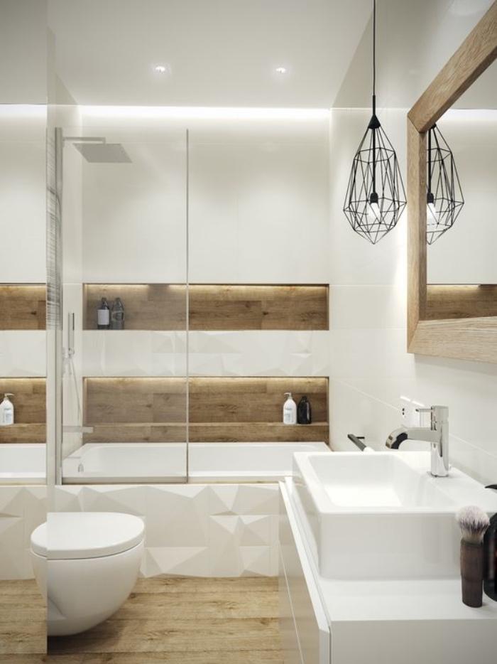 cuartos de baño modernos, elementos de madera, bañera, cuarto de baño pequeño, blanco