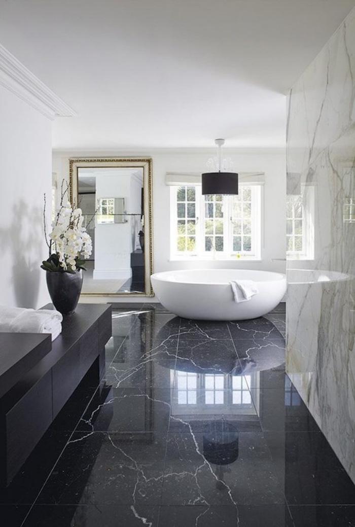 cuartos de baño modernos, suelo de mármol negro, estilo modernista, cuarto de baño enorme, bañera redonda