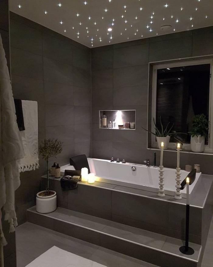 cuartos de baño, tonos oscuros, gris, decoración con velas, plantas, interesante