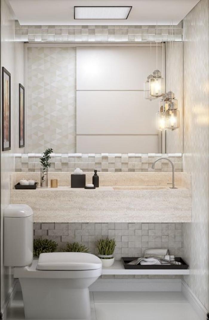 cuartos de baños modernos, baño pequeño, tonos claros, decoración bonita, plantas
