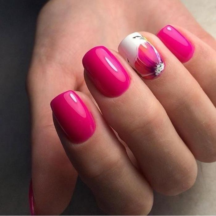 decoración uñas, tonos llamativos, color rosa, dibujo de flor en el dedo anular