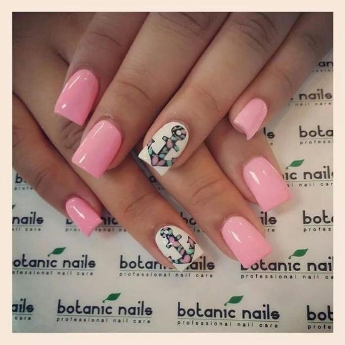 decoración uñas, color rosa, dibujo de ancla en el dedo anular, bonito diseño