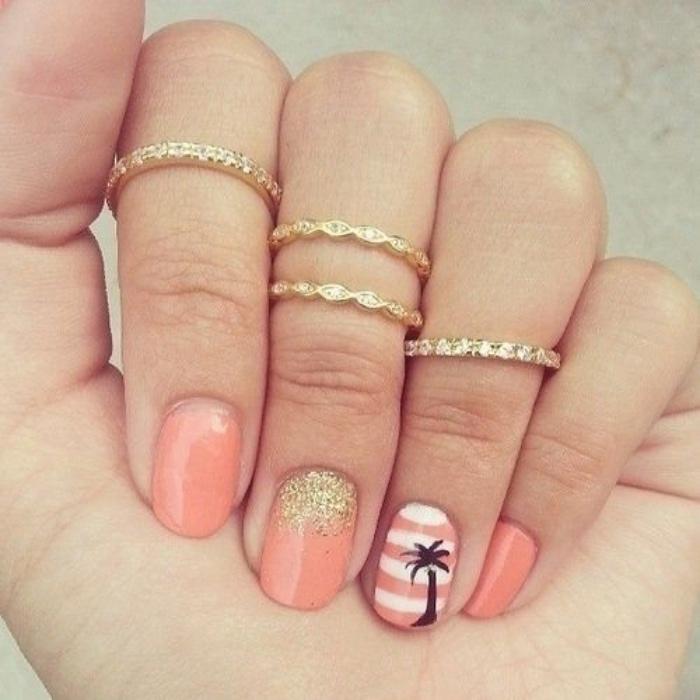 diseño de uñas, color naranja, brocado de decoración, dibujo de palma, diseños interesantes
