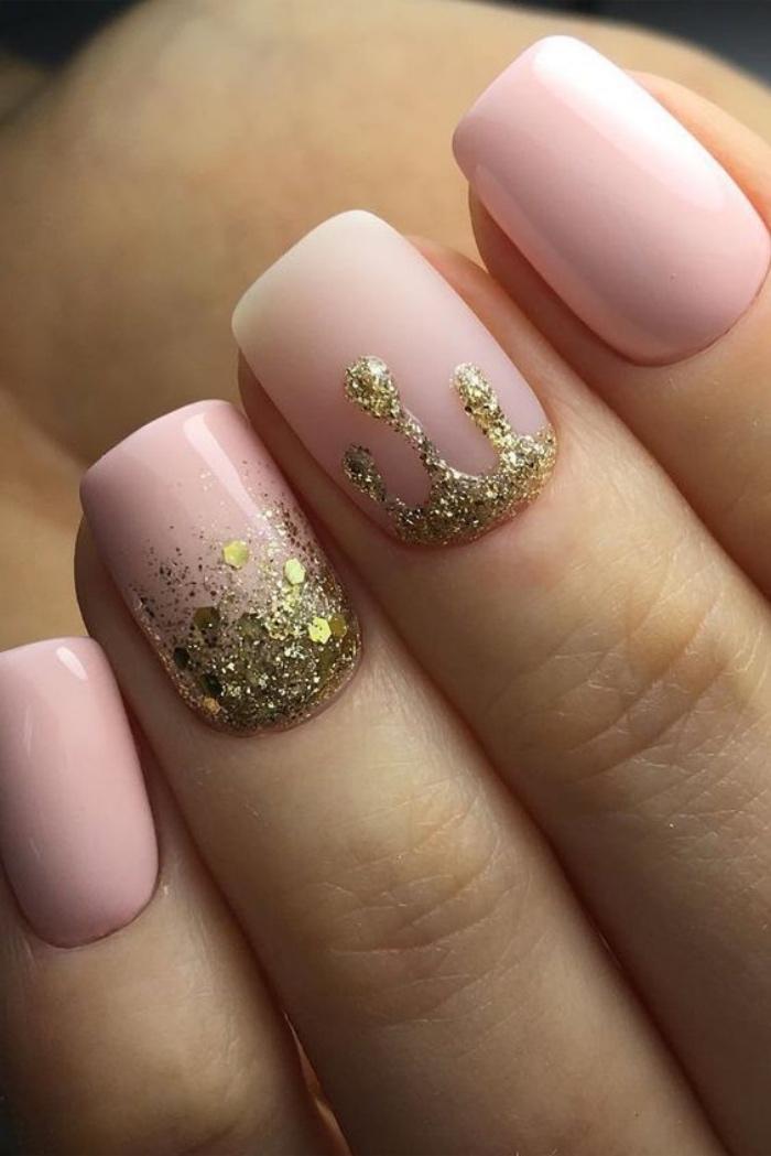 diseño de uñas, rosa suave, elegante, decoración con brocado, interesante, bonito