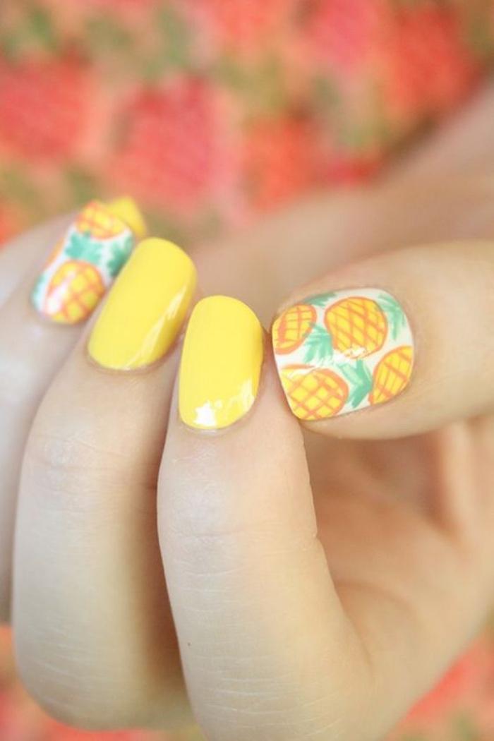 diseños de uñas, color amarillo, estilo veraniego, dibujos de piñas, uñas de estilo veraniego