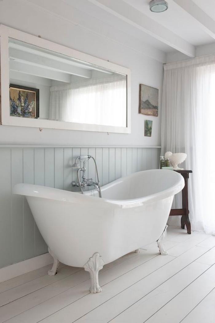 muebles de baño, tonos claros, pasteles, bañera, espejo, decoración bonita