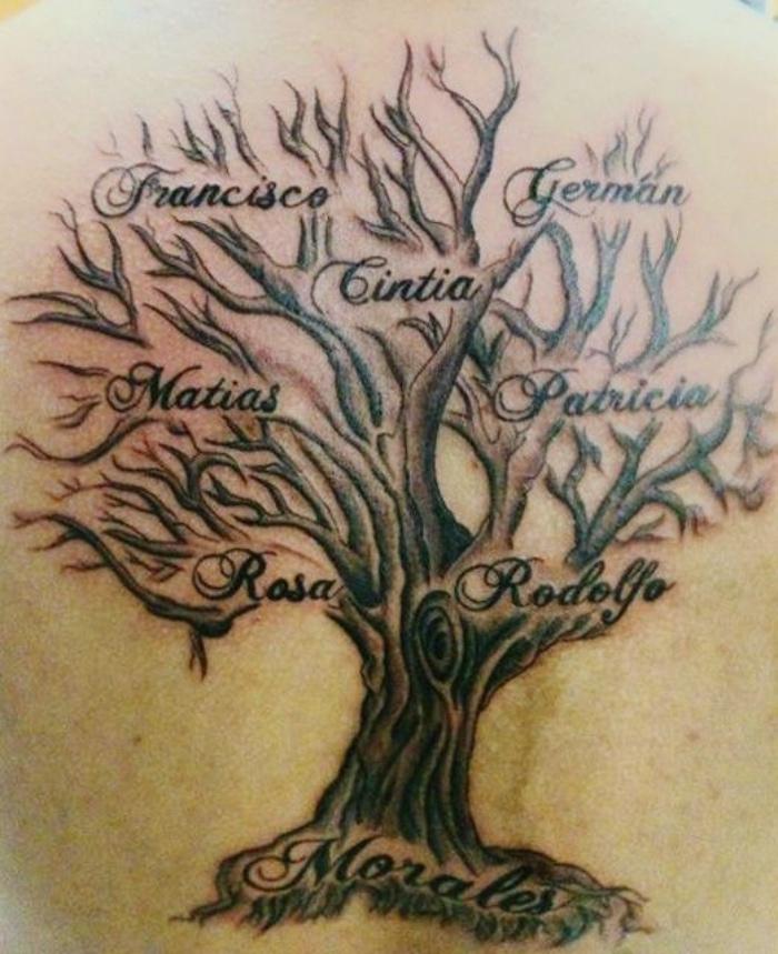 tatuajes de nombres, árbol con los nombres de la familia, tatuaje creativo, interesante