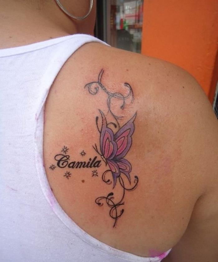 tatuajes de nombres, tatuaje de mariposa en el hombro, bonito, importante, santimental
