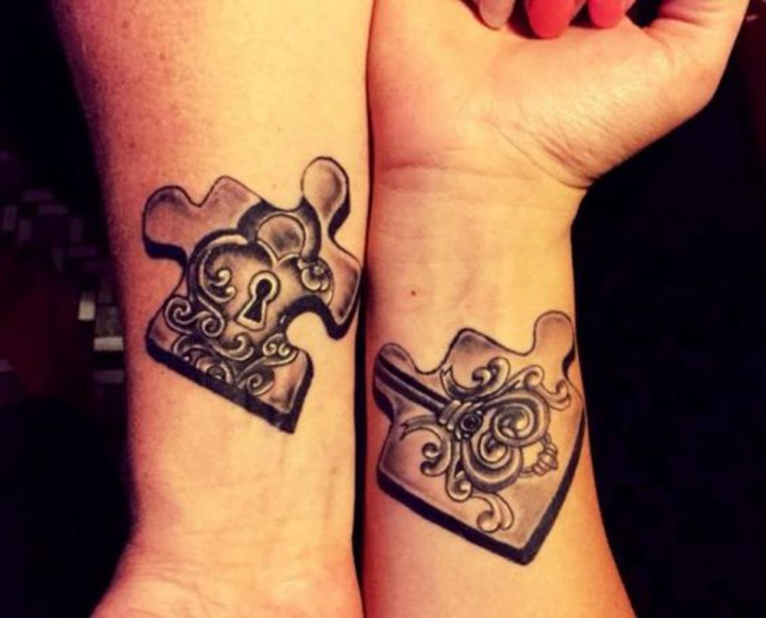 tatuajes para parejas, piezas de rompecabezas, tatuajes complementarios, amor, romántico