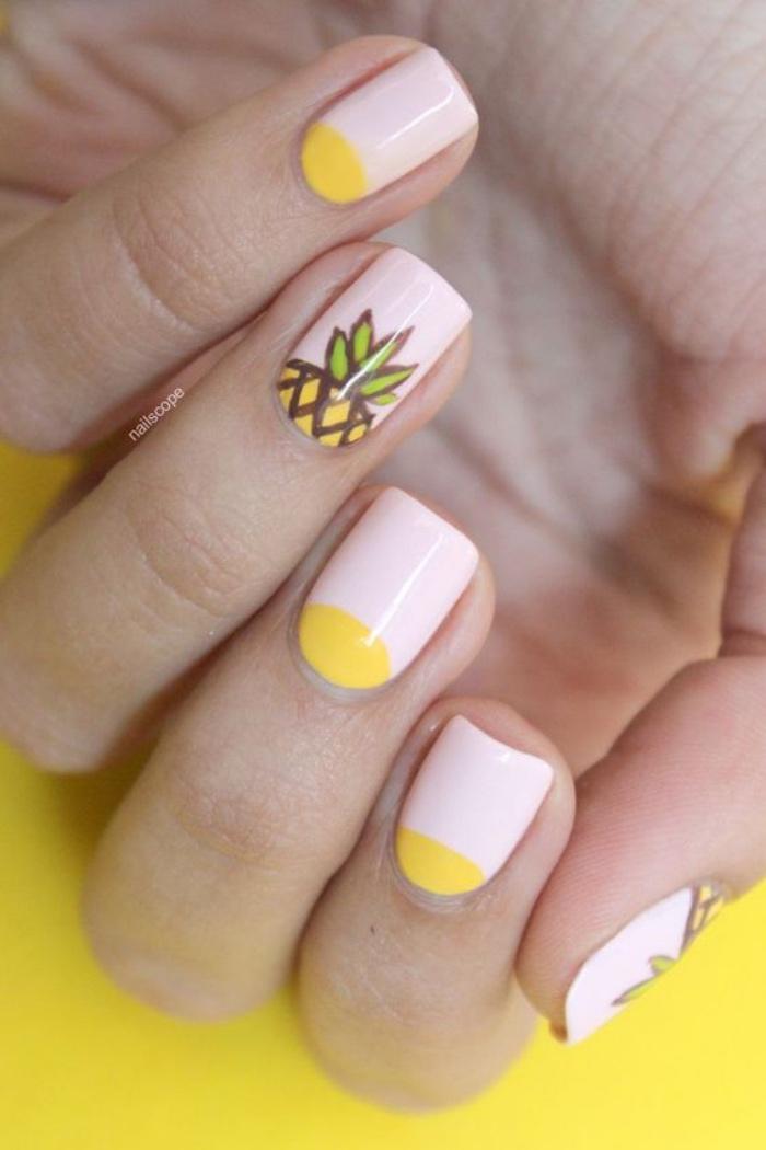 uñas pintadas en colores pasteles, dibujo de piña, amarillo, estilo veraniego, bonito