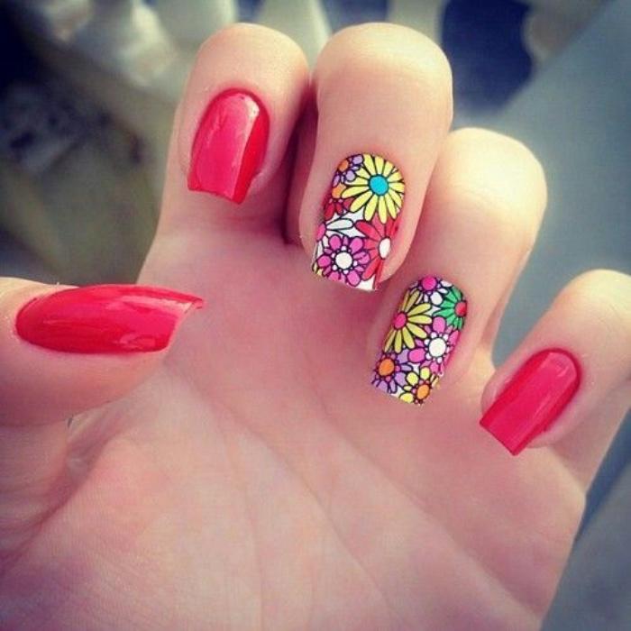 uñas pintadas en color rojo, diseño bonito, dibujo de flores, estilo veraniego