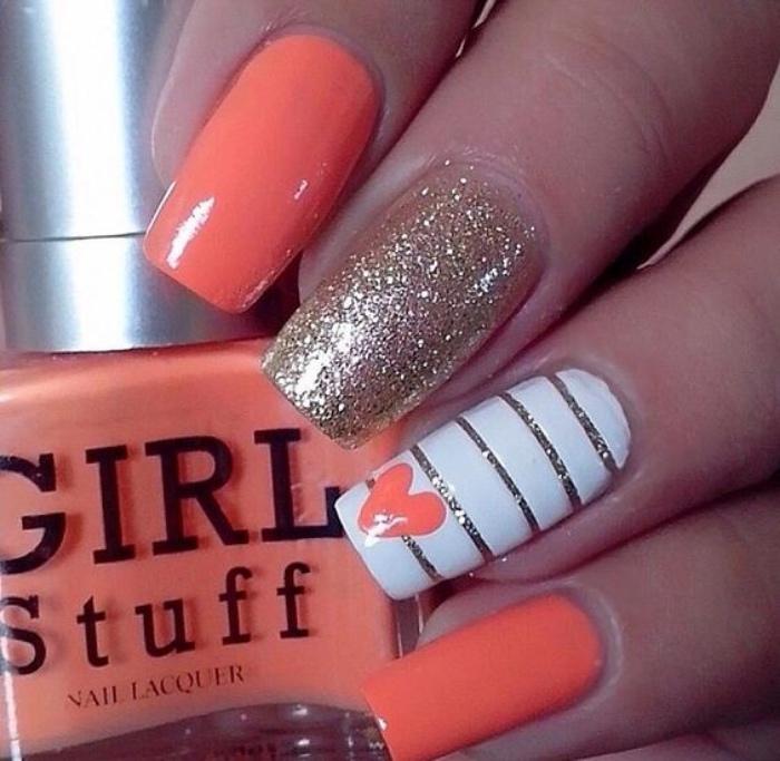 uñas pintadas en naranja, decoración con brocado, corazón, estilo veraniego, bonito
