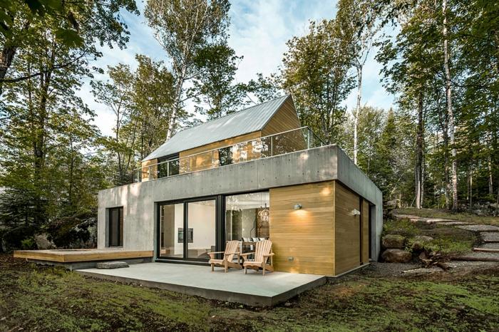casas de campo, villa moderna e madera clara y hormigó, escaleras y bosque