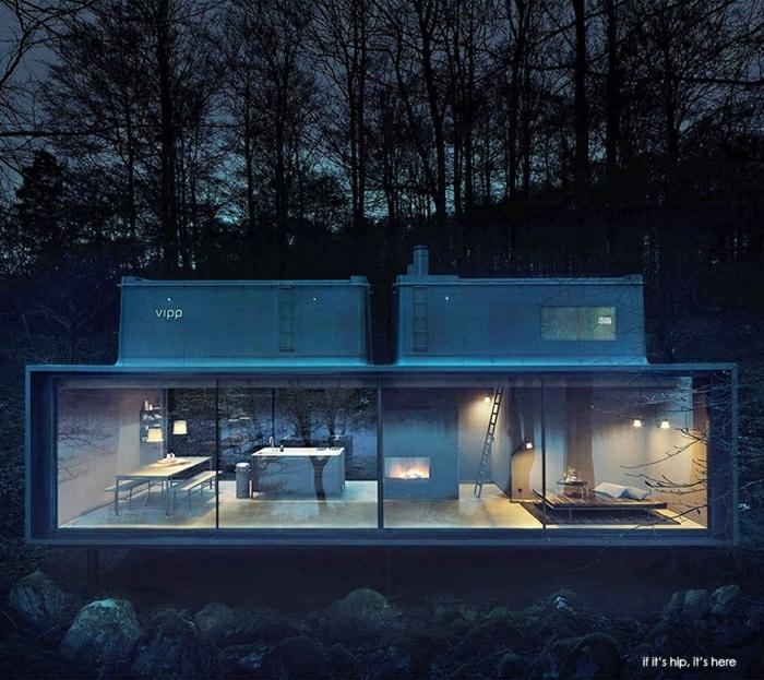 casa minimalistas, villa de metal negro con paredes de vidrio situada en un bosque