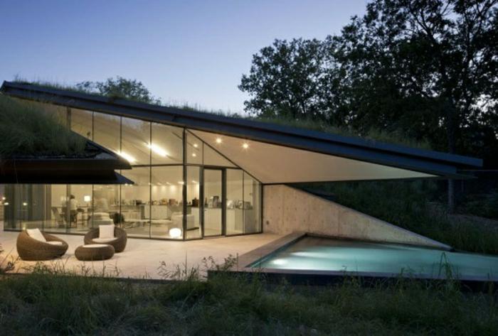 casas minimalistas, villa de un piso con techo inclinado y piscina