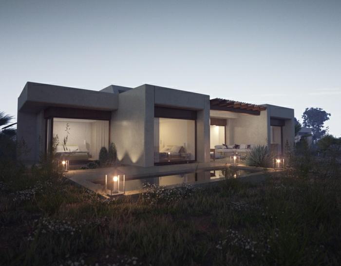 casas modernas, villa con techo plano de un piso y cuatro habitaciones, piscina