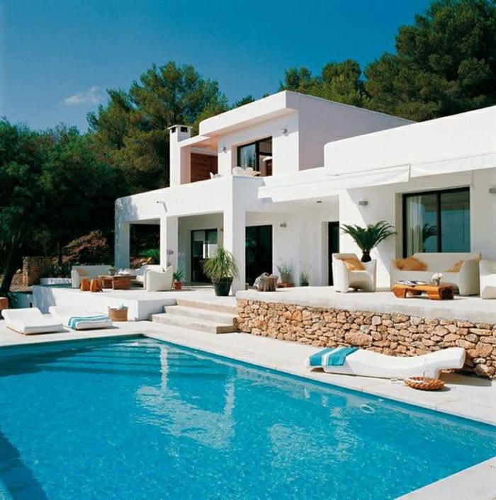 1001 ideas sobre fachadas de casas modernas for Casas bonitas con alberca y jardin