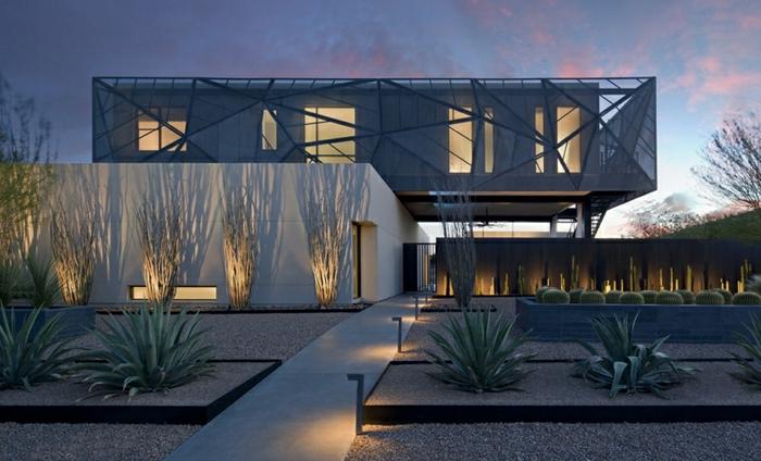 casas modernas, villa elevada futurista, balco y negro, iluminacion artistica, patio